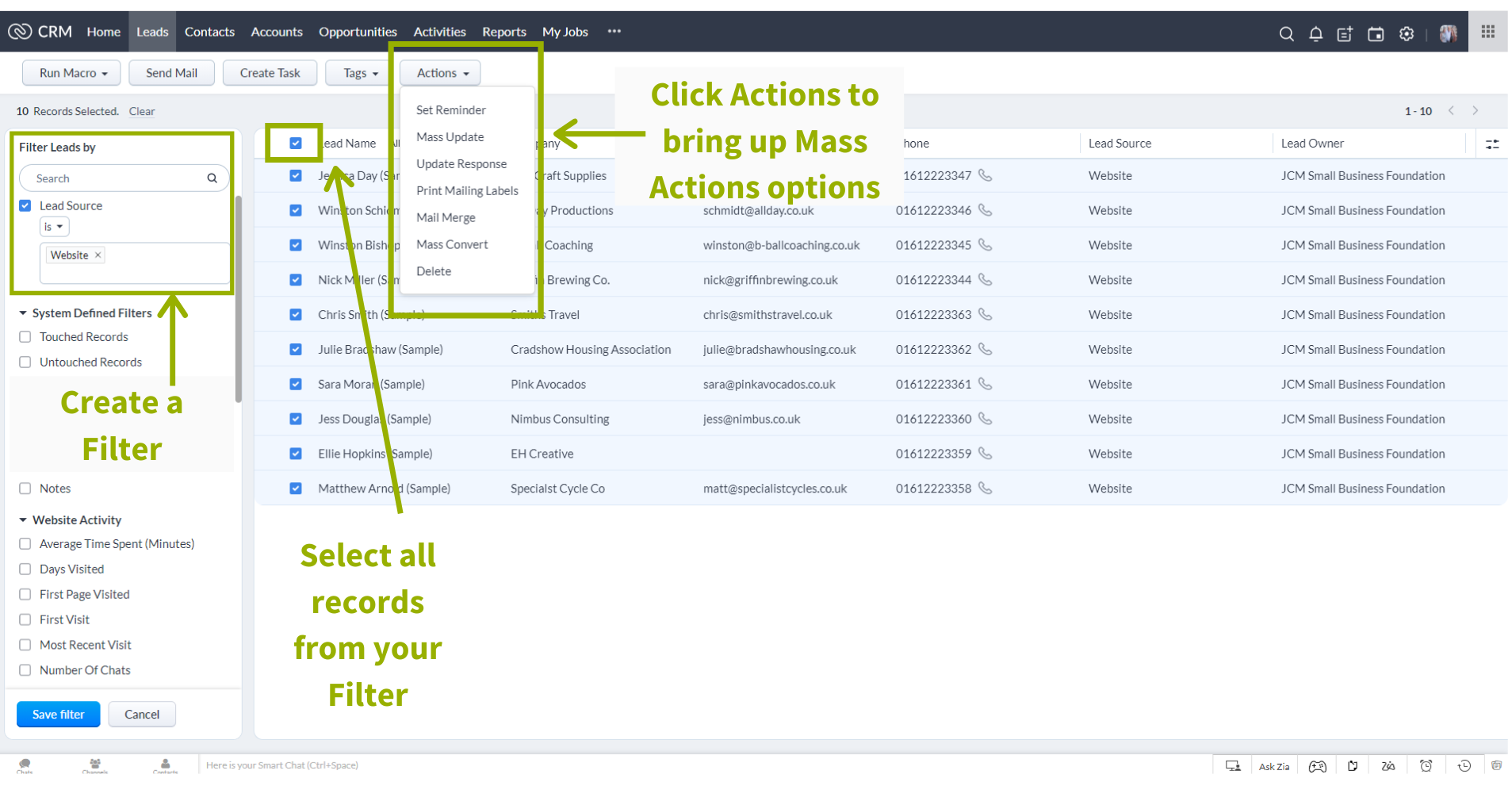 Mass Actions