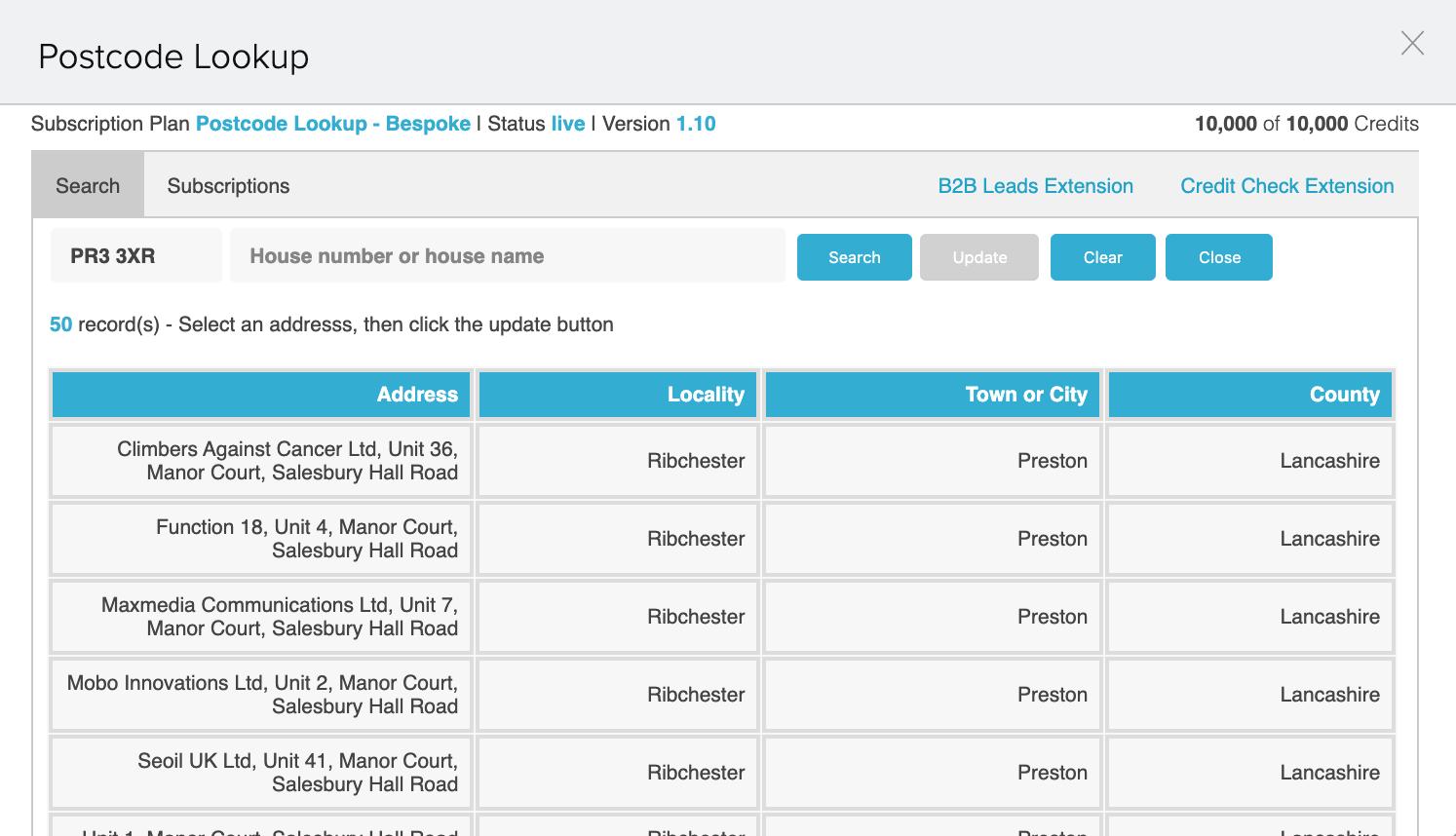 Postcode Address Finder